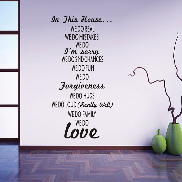 DIY Vinyl In This House Wall Stickers House Rules Text Stick On - How to make vinyl stickers stick