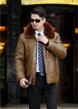 2017 осень и зима ПУ кожа вниз лацкане мужчин среднего возраста плюс толстый пух перо мягкий кожаный ошейник мужской длинный отрезок