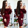 2017 New Spring Girl Dress Wholesale Green Burgundy Bandage Dress Prom Party Dresses Dropshipping L 153