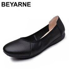 BEYARNE zapatos planos de piel auténtica para mujer, Bailarinas de mujer con punta puntiaguda negra de moda, zapatos planos de mujer bailarina de diseñador de marca