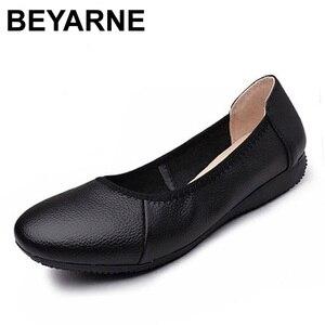 Image 1 - BEYARNE zapatos planos de piel auténtica para mujer, Bailarinas de mujer con punta puntiaguda negra de moda, zapatos planos de mujer bailarina de diseñador de marca