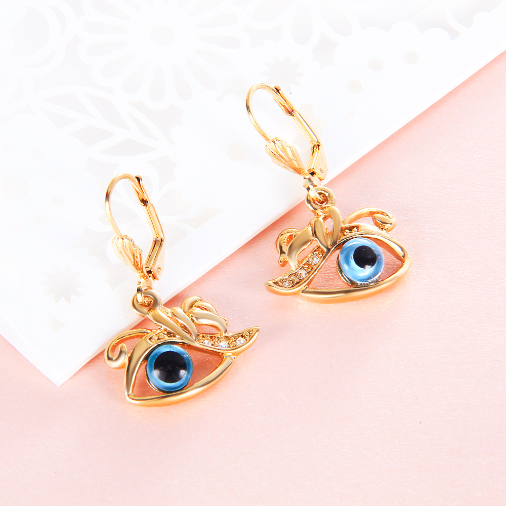 Angle Eyes Hook Earring Ear Piercing For Women Girl GP Crystal ...