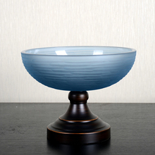 Fashion alloy glass fruit plate candy tray dried vintage fashion bowl food container dinner decoration