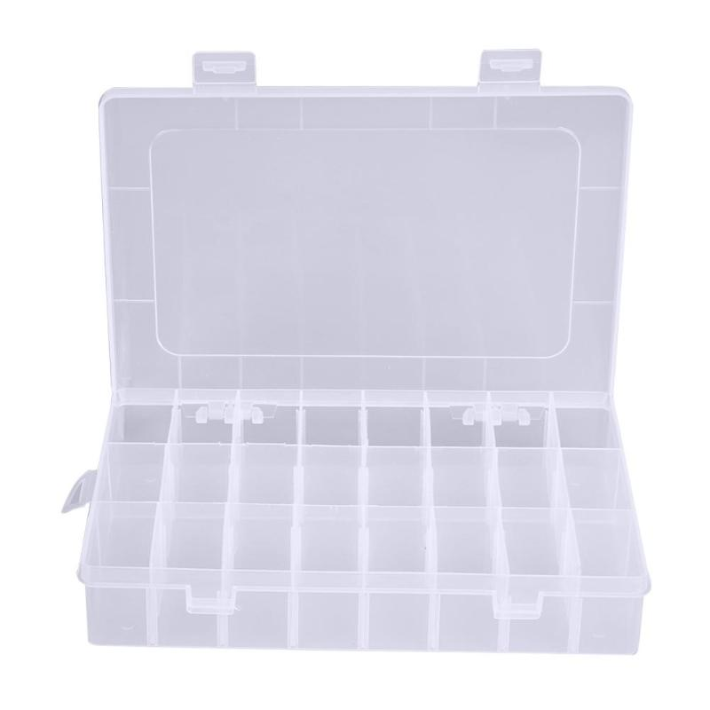 24 Compartments Plastic Jewelry Pills Box Organizer Storage Container White