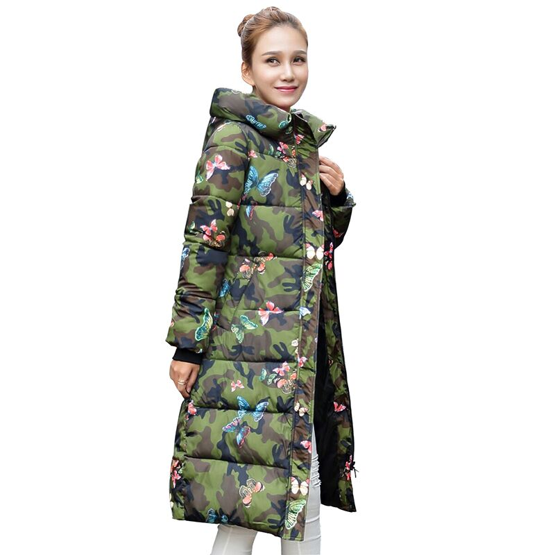 Fashion Winter Jacket Women 2017 Print Thick Warm Female Jacket Cotton Coat Knee Length Parkas Jaqueta Feminina Inverno MZ1998