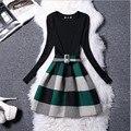 Las nuevas mujeres de algodón de manga larga dress vintage flor de la impresión digital cinturón de partido de la manera más tamaño vestidos vestidos fake 2 unidades dress