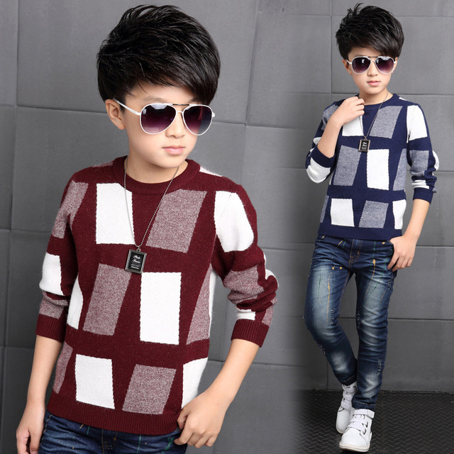 5-14 Years Boys Sweater Autumn Winter Casual Children Knit Plaid Kids Babies Boys Sweaters Clothing Fashion Warm Boys Jackets