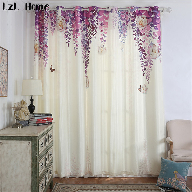 LzL Home Hot Purple Blackout Curtains Small Fresh Vine Flowers Window For Living Room Elegant