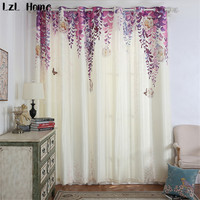 LzL Home hot purple blackout curtains small fresh vine flowers window curtains for living room elegant fabric window decoration