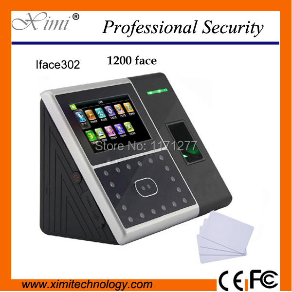 Face sensor 13.56MHZ MF card reader wifi TCP/IP network color touch screen face fingerprint time attendance access controller
