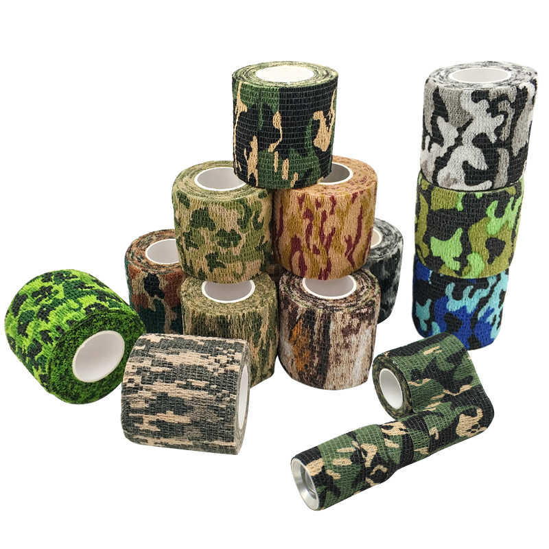 Camo Tape Self-adhesive Stretch Bandage 5CM*4.5M Tactical Non-woven Protective Camouflage Tape for Rifle Gun Flashlight Hunting