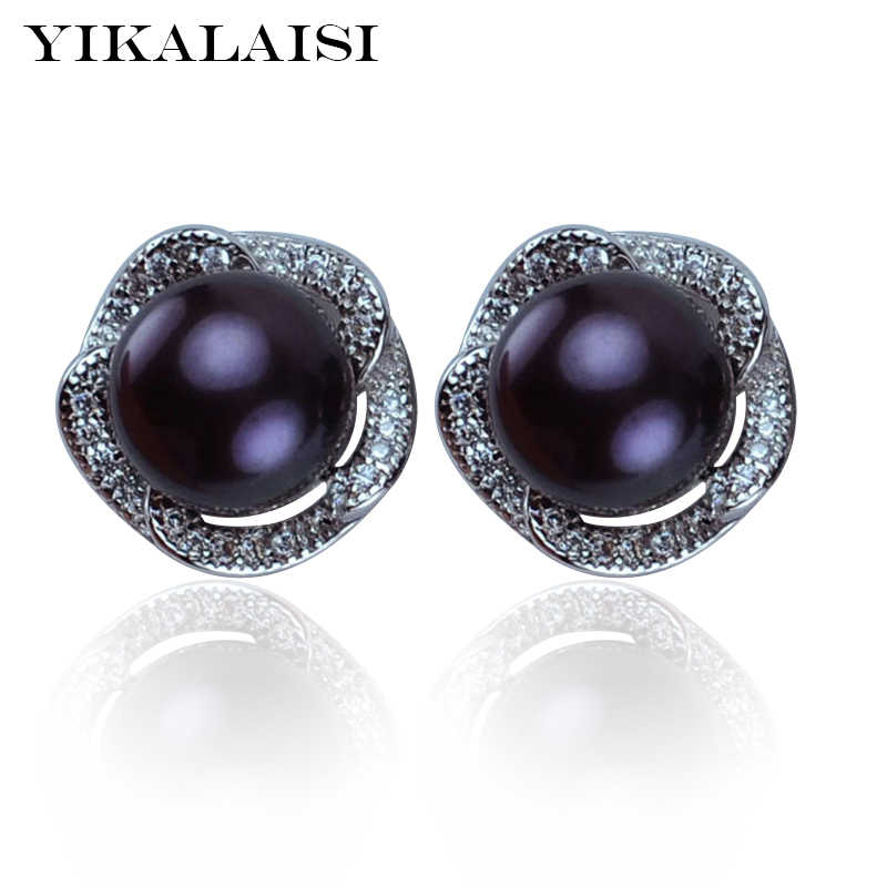 YIKALAISI 925 Sterling Silver Natural Freshwater Pearl Stud Earrings Jewelry For Women 8-9mm Real Pearl 4 Colour AAA Zircon