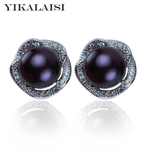 YIKALAISI 2017 100% natural freshwater pearl stud earrings 8-9mm real pearl925 sterling silver jewelry for women best gifts