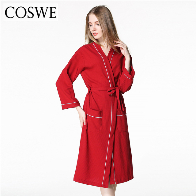 COSWE Cotton Robe Bathrobe Black Loose Robes For Womens White Pink Plus  Size Women Bath Robe Dressing Gowns Spa Hotel Wholesale 1a2fcb762