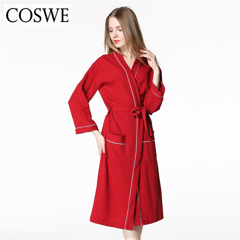 COSWE Cotton Robe Bathrobe Black Loose Robes For Womens White Pink Plus Size Women Bath  ...