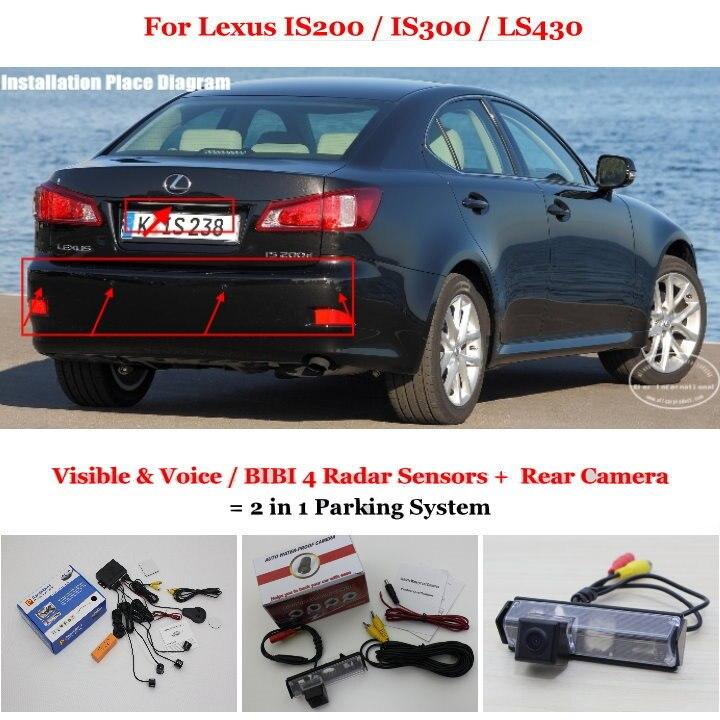 Liislee pour Lexus IS200/IS300/LS430-capteurs de stationnement + caméra de recul = système de stationnement d'alarme visuelle/BIBI 2 en 1