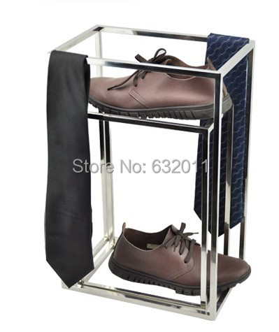 Silvery surface stainless steel box shoes necktie scarves holder showing stand Multi-functional Metal merchandise display rack
