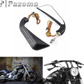 """Black Motorbikes Aluminum 5/16"""" Bolt Amber LED Side Mirror w/ Axe Sequential Turn Signals for Harley Dyna Softail Touring"""