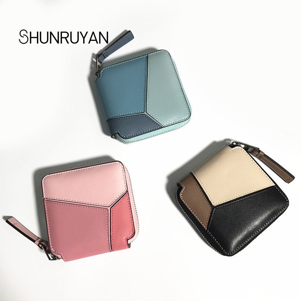 SHUNRUYAN Mini couleur bonbon portefeuille pièce de monnaie carte sacs en cuir véritable sac à main Designer pochette argent poche pièce de monnaie femmes court Walle