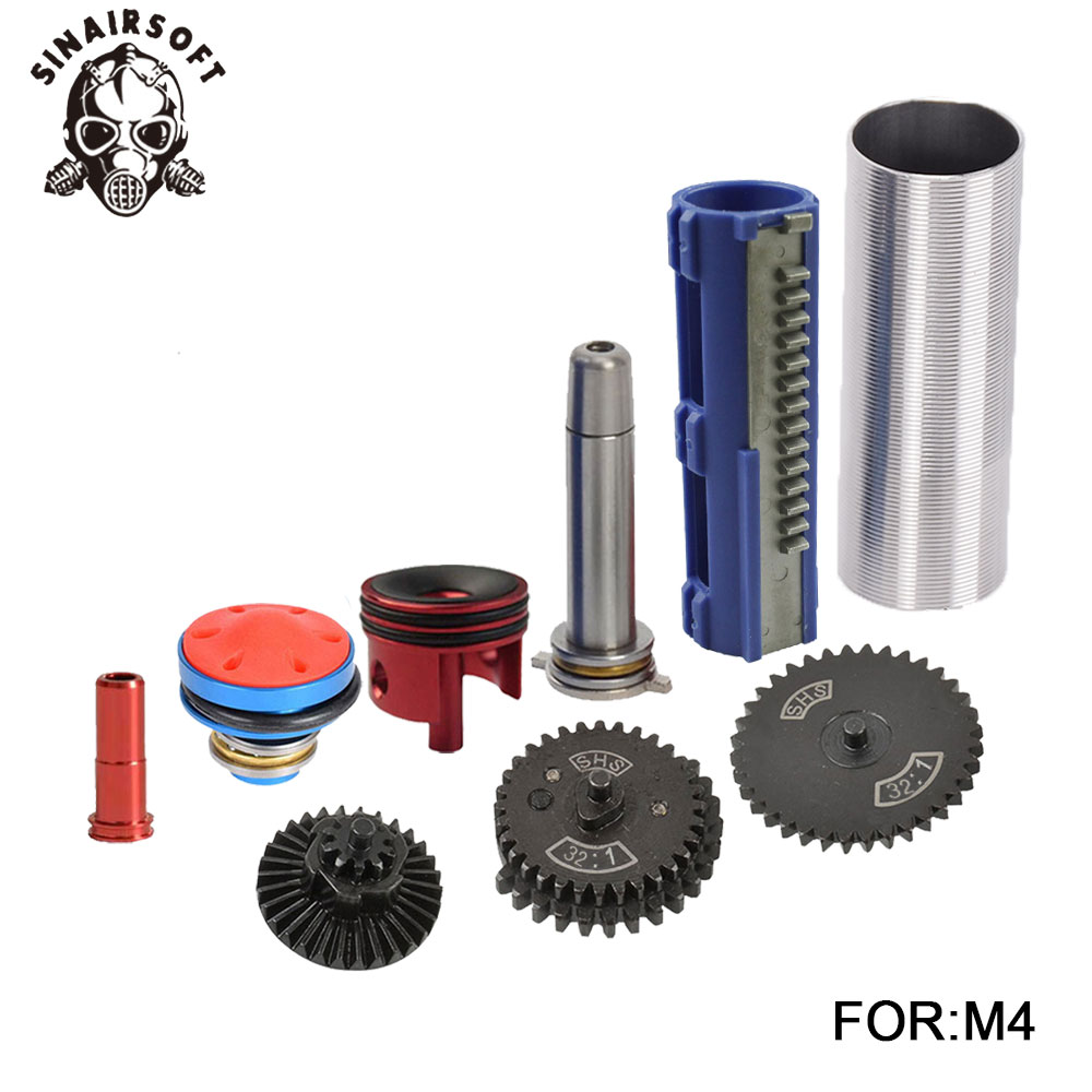 SHS-32-1-Gear-Nozzle-Cylinder-Spring-Guide-14-Teeth-Piston-Kit-Fit-Airsoft-AK-MP5