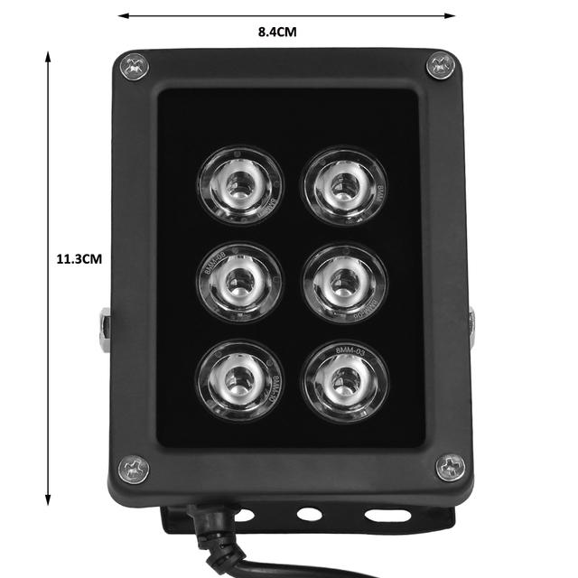 AZISHN NEW CCTV 6pcs Array LEDS IR illuminator infrared Light Waterproof Night Vision CCTV Fill Light for Surveillance Camera