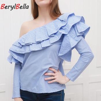 Off Shoulder Ruffles Women Blouse Shirt  Summer Casual Long Sleeve Blue Striped Shirt Blouses Winter Blusas Tops blue cold shoulder long sleeves lace blouses