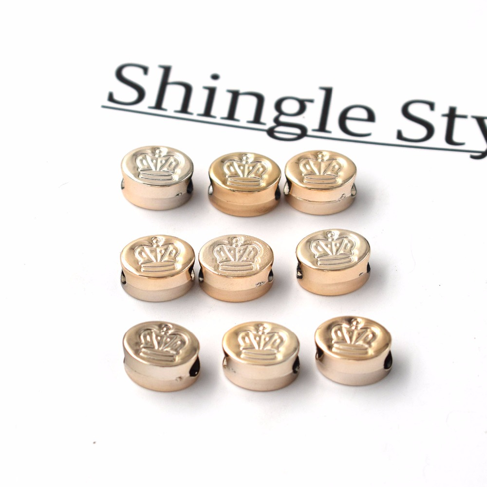 50Pcs 13*10*7mm New Design Rose Gold Color Crown  Imitation Beads Big Hole UV CCB Plastic Beads For Charm Jewelry Making