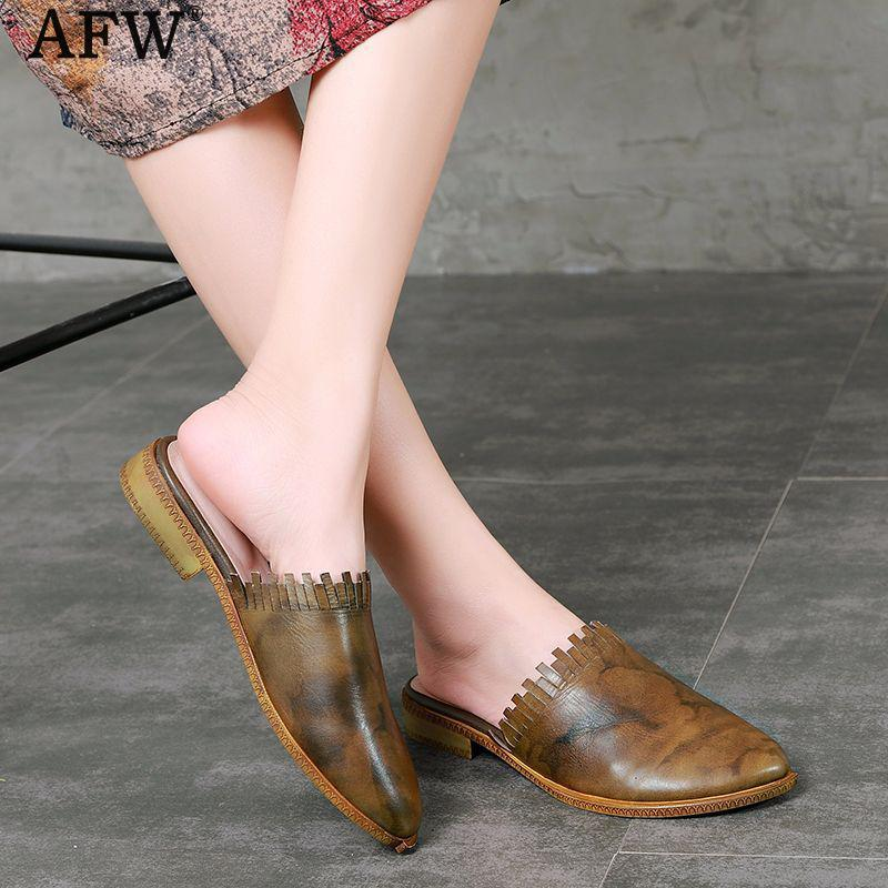 AFW Women Genuine Leather Mules Women Slippers Shoes Brand Retro Handmade Women Leather Sandals Slip On Casual Leather Shoe 2018 2018 new high end leather comfortable feet sandals classic sandals handmade leather slippers handmade leather slippers
