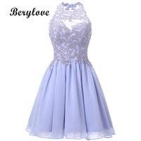 BeryLove Short Lavender Homecoming Dresses 2018 Mini Beaded Lace Homecoming Dress Open Back Homecoming Gowns Graduation Dresses