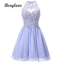 BeryLove Short Lavender Homecoming Dresses 2018 Mini Beaded Lace Homecoming Dress Open Back Homecoming Gowns Graduation Dresses