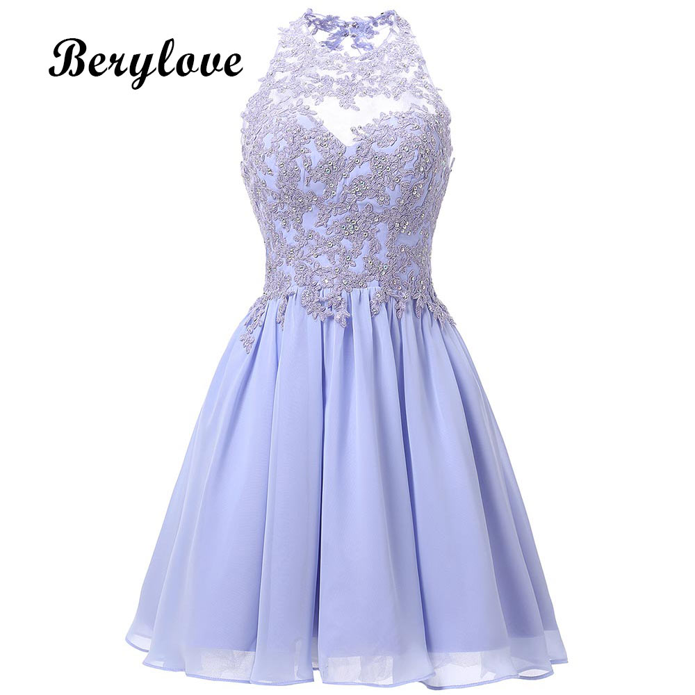 Short Lavender Homecoming Dresses 2018 Mini Beaded Lace Homecoming Dress Open Back Homecoming Gowns Graduation Dresses Prom