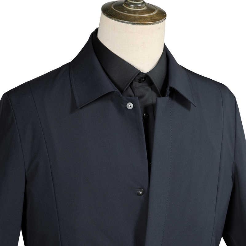 2018 осенние мужские классические деловые тренчи мужские высококачественные куртки с отложным воротником мужские повседневные пальто мужские ветровки F696