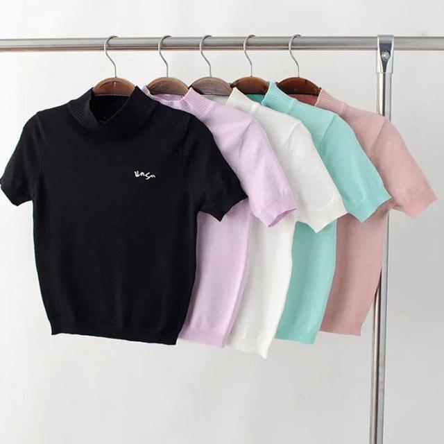 Harajuku de Punto de Verano Las Mujeres Camiseta de Manga Corta Casual Tees Camiseta Femme Tops de Cuello Alto Elástico Llano Superior O Cuello