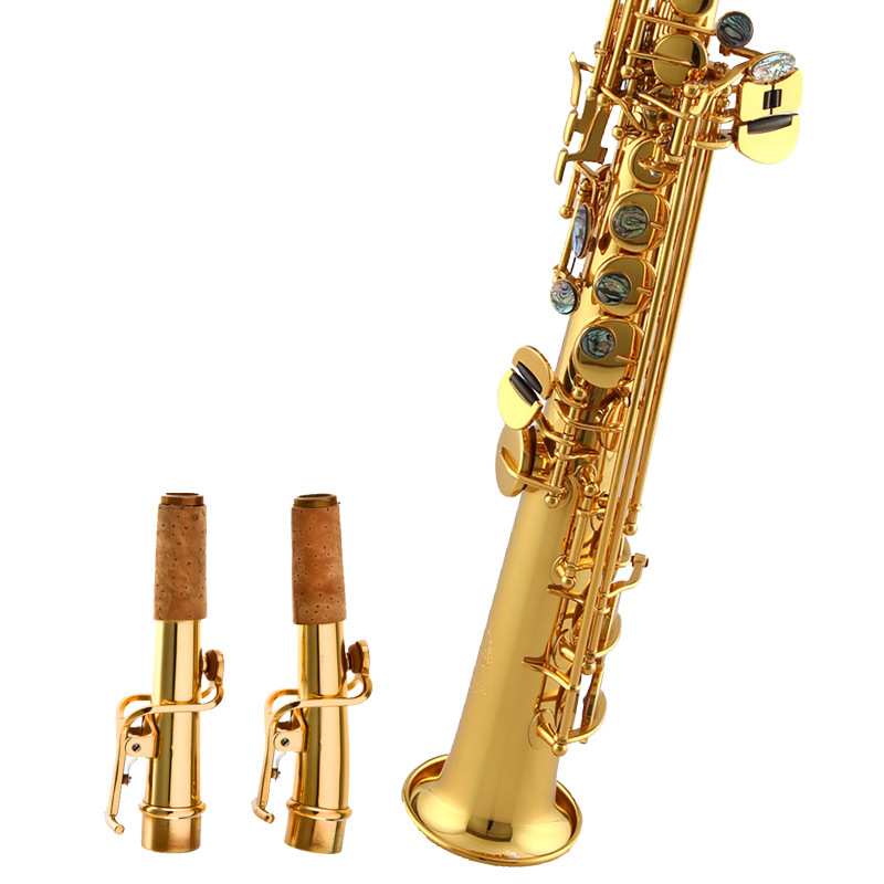 Golden Bb High Pitch Sax Tube Brass Saxophone with Case& Accessories For Brass Woodwind Musical Instruments Lover Beginner Gift