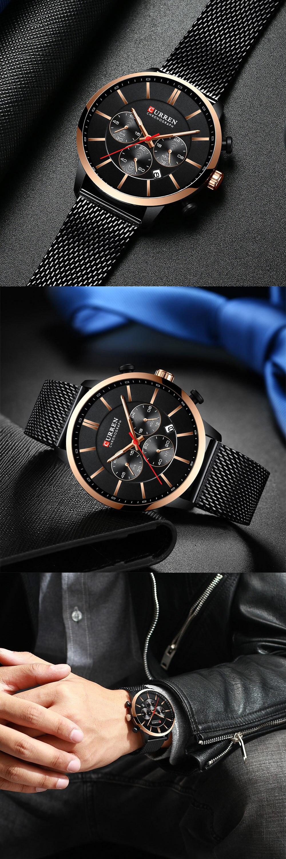 HTB1Q6uha8SD3KVjSZFqq6A4bpXaW CURREN Watch Men Fashion Business Watches Men's Casual Waterproof Quartz Wristwatch Blue Steel Clock Relogio Masculino