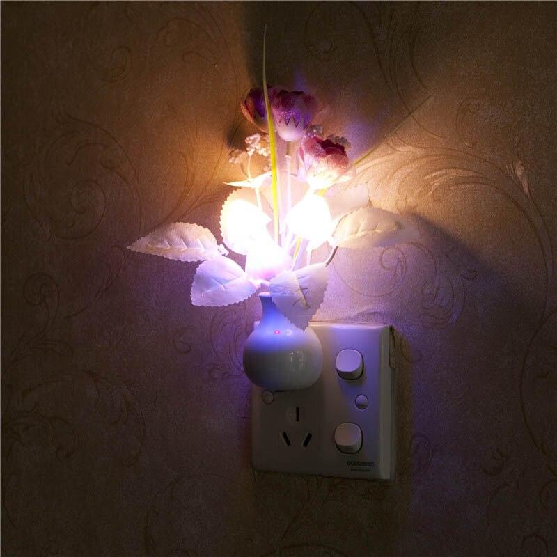 Mushroom Rabbit/Rose Plant Night Light Sensor Home Bedroom Decor US Plug/EU plug Colorful Nightlight Luminaria LED NightLamp P20