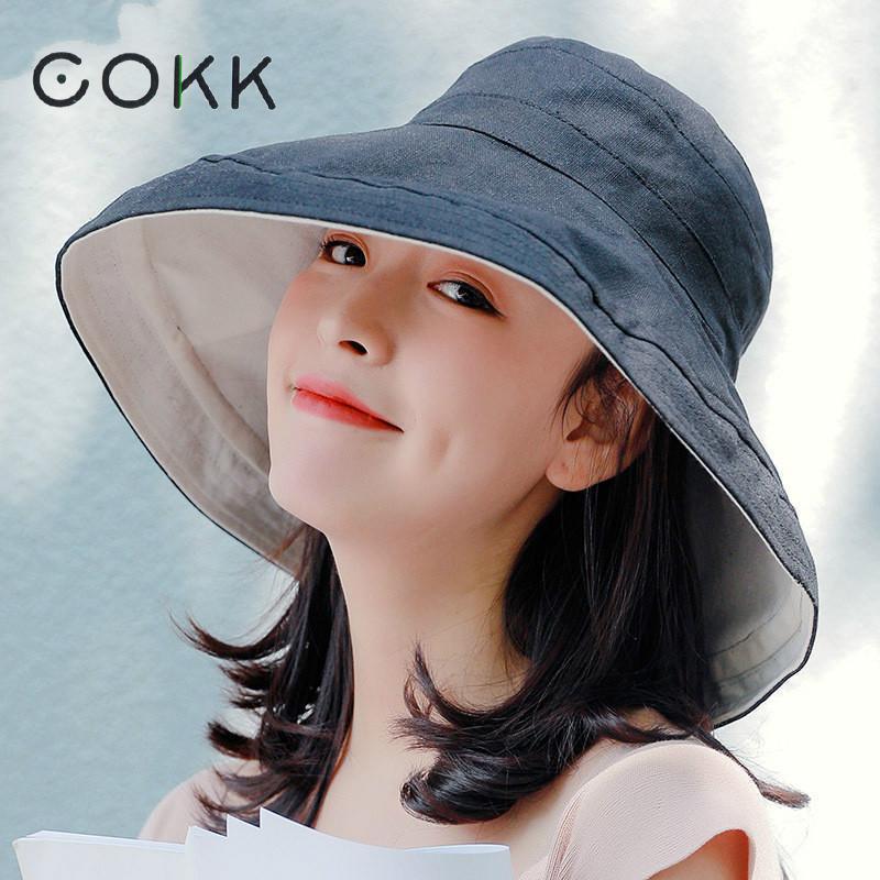 COKK Hat Women Bucket Hat Double sided Colour Summer Sunshade Sunscreen Foldable Sun Hat Beach Vacation Korean Style Wide Brim