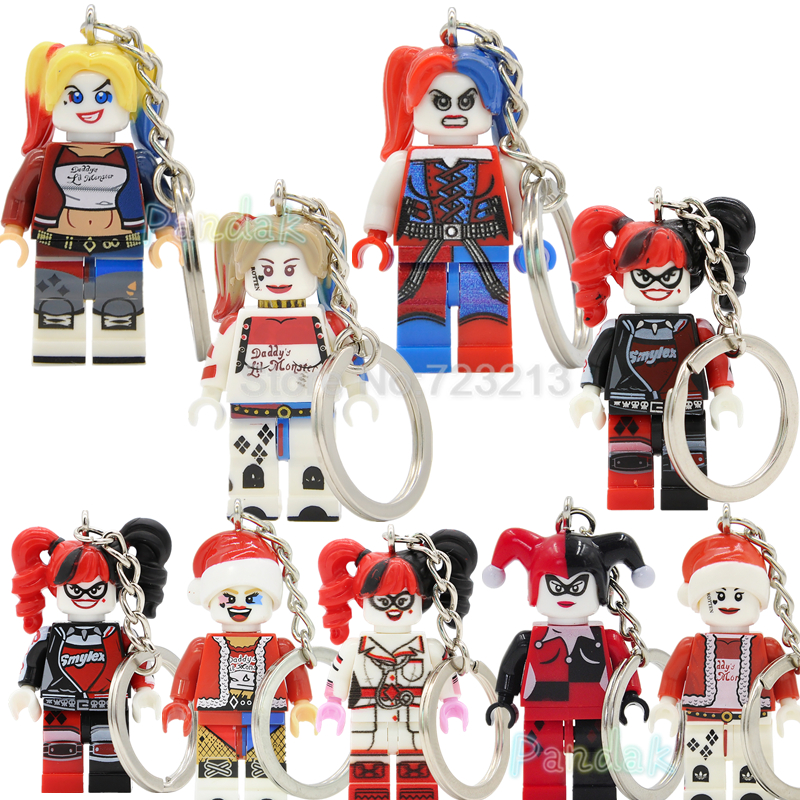 Harley Quinn DC Super hero Figure Keychain For Key Custom Ring Key Chain Building Blocks Sets Model Toys XH257 black butler acrylic keychain action figure pendant car key chain key accessories japanese cartoon key ring hzs002 ltx1