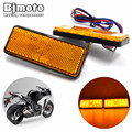 Pair Yellow LED Rectangle Reflectors Brake Light 12V Rear Lights Tail Light for Universal Motorcycle Car Truck Trailer SUV