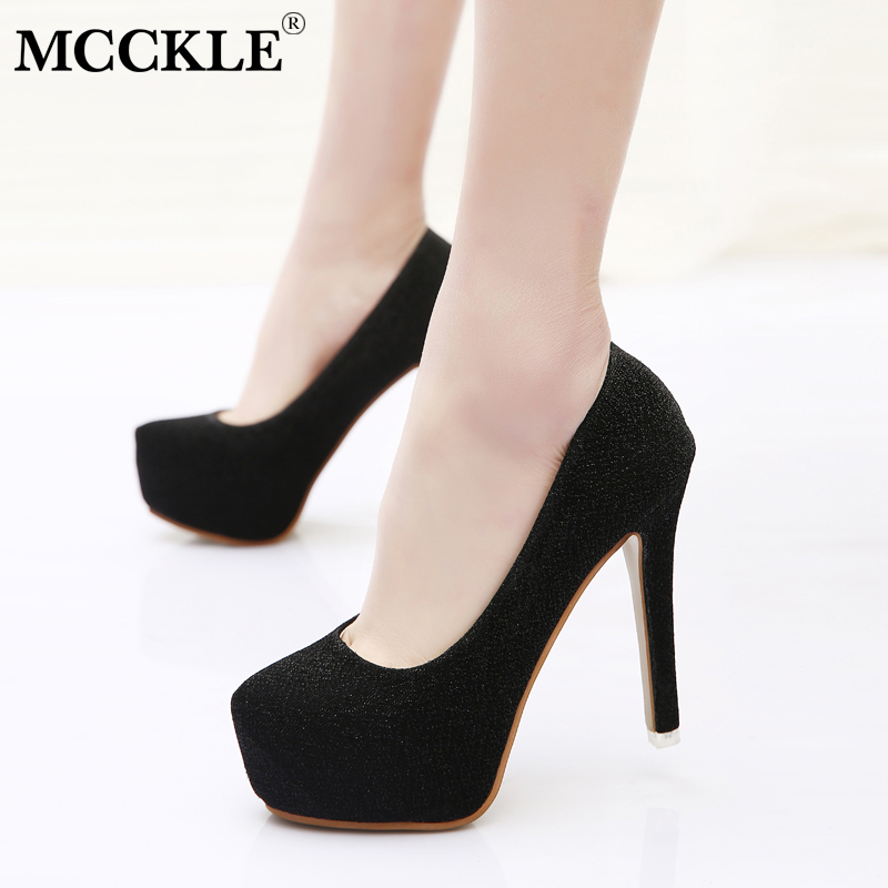 MCCKLE Women Stilettos Plus Size Shallow High Heels Ladies Pumps Pointed Toe Sequined Cloth Slip On Party Shoes Thin Heel Sexy sequined high heel stilettos wedding bridal pumps shoes womens pointed toe 12cm high heel slip on sequins wedding shoes pumps