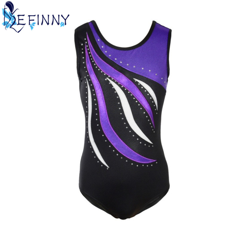 Hotsale Girls Shiny Metallic Leotards Full Sleeve Gymnastics Leotard Spandex One-piece Bodysuit Kids Ballet Dance Costumes
