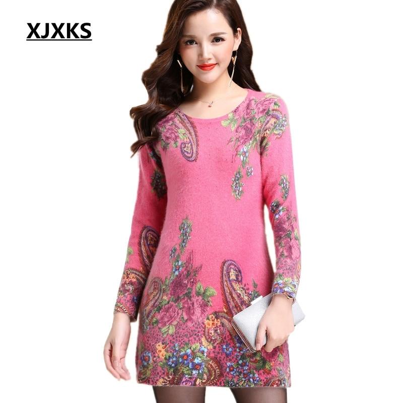 XJXKS Women Casual Long Sweater Dress O Neck Long Sleeve High Quality Wool Print Sweater For