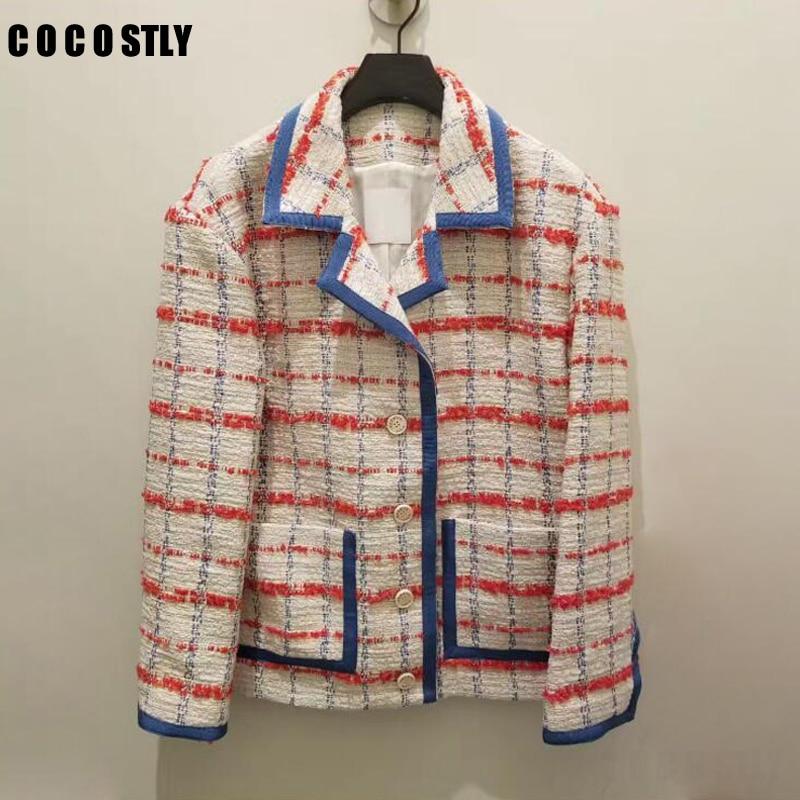 2019 spring tweed jacket women notched collar long sleeve hit the color plaid lady elegant short woolen tweed coat