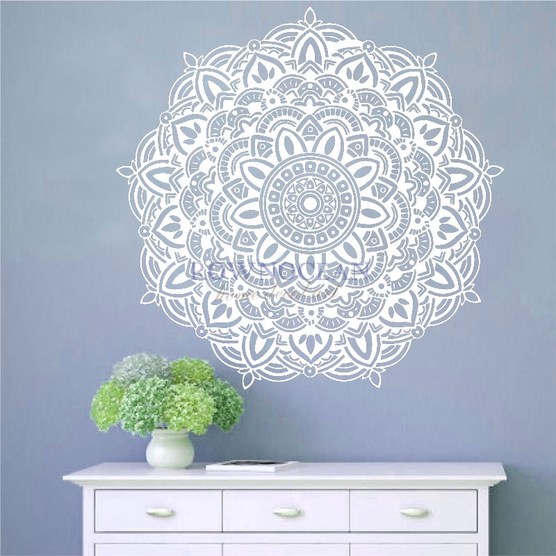 New Year 2017 Mandala Yoga Wall Sticker Removable Vinyl Art Indian Round Household Products Interior Gym Room Decoration MA-03