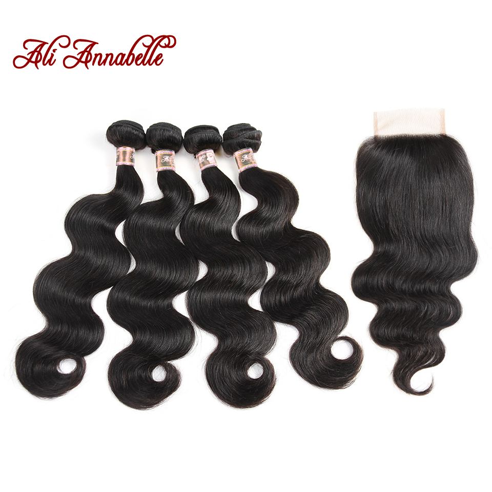 ALI ANNABELLE Human Hair 4 Bundles Indian Body Wave with Lace Closure 4 4 Swiss Lace