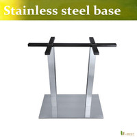 U BEST Stainless Steel Double Column Table Base Brushed Stainless Steel Square Table Stand