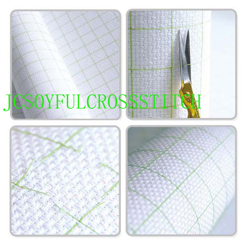 Toppkvalitet 14CT 14ST Cotton Pre-Grid Grided Cross Stitch Canvas Tyg, Färgfodrad Grid Broderier Canvas