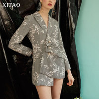 XITAO 2018 Europe Spring New Fashion Women Plaid Floral Pattern Beading Blazers Female Notched Collar