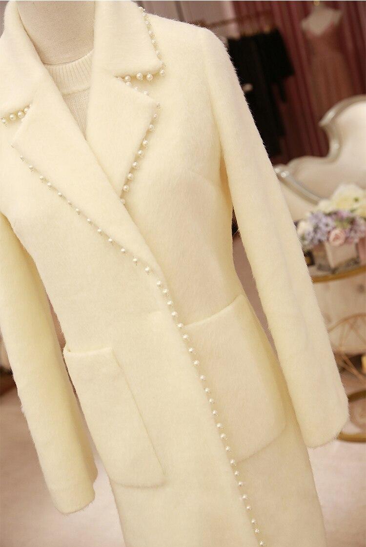 Perlée Kenvy Laine De Luxe D'hiver Femmes Manteau Marque Mode Poche Gamme Mohair Haut x6wvq4xH