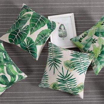 Tropical Pillow Cover Cushion Case Green Leaf of Tropical Palm Telopea monstera ceriman Home Decorective Cushion Cover 45x45cm 1